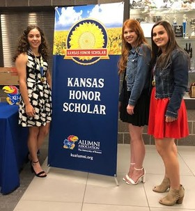 Pictured from (L to R) are Laiten Greeson, Shelby Thornton, and Lindsay Withers who represented Sublette High School at the Kansas Honor Scholar program on the campus of Garden City High School.